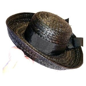 NWT Peter Grimm Round Black Straw Ladies Hat